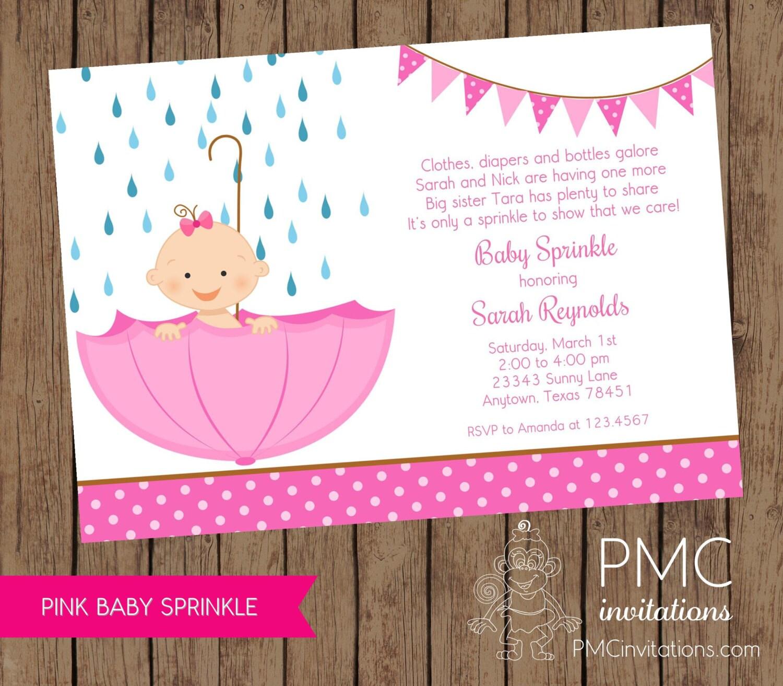 Pink Baby Sprinkle Rain Sprinkle Baby Shower Invitation