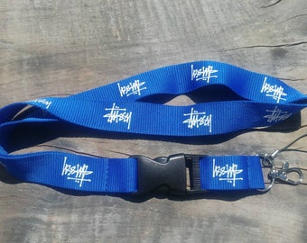 STUSSY Lanyard Blue with White Print High Quality