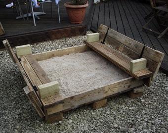 Handmade Children's Sandpit with bench seat