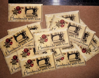 20 Vintage sewing theme labels. 'Handmade with love' stickers ... for you handmade fabric crafts, vintage roses & sewing machine images