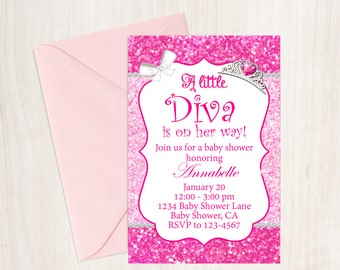 Little Diva Pink Glitter Baby Shower Invitation, Little Diva Baby Shower, Girls Baby Shower, Baby Shower Invitation, Little Diva, Printable