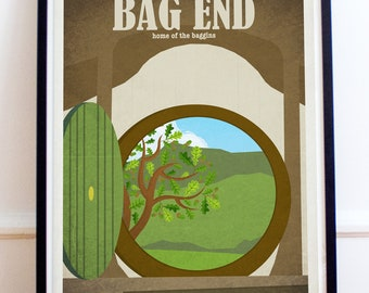 Bag End - Lord of the Rings - The Hobbit - Travel Poster Style Art Print - Lord of the Rings Poster - Wall Art - Home Decor - The Shire