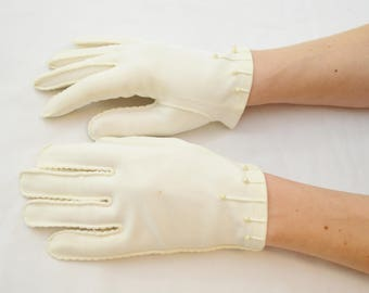 last chance Vintage WHITE Ladies Formal Short Gloves with Beaded Detail