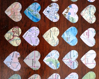 100 Upcycled Heart Shaped Map Stickers