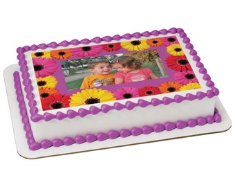 Colorful Daisies Picture Frame Edible Cake Topper