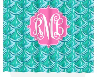 Monogram Shower Curtain | Mermaid Scales | Shower Curtain | Bathroom Decor