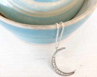 Moon necklace/ pave moon necklace/ silver moon charm necklace/ crescent moon charm necklace/ silver moon charm with rhinestones