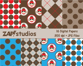 Sock Monkey Paper Pack - 16 Digital Papers - Instant Download