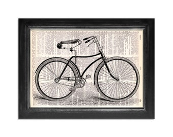 The Lovely Vintage Bicycle Print - Dictionary Art Print on Vintage Dictionary Paper - 8x10.5 - Cyclist Wall Decor Print