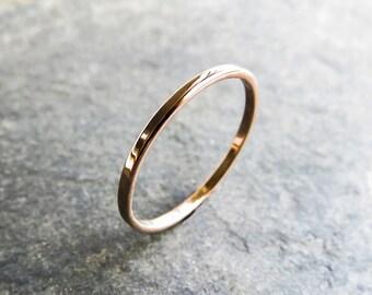 Thin, Flat Rose Gold Wedding Band - Recycled Solid 14k Gold Narrow Wedding Ring - Choose Polished or Matte Rose Gold, Flat Stacking Ring