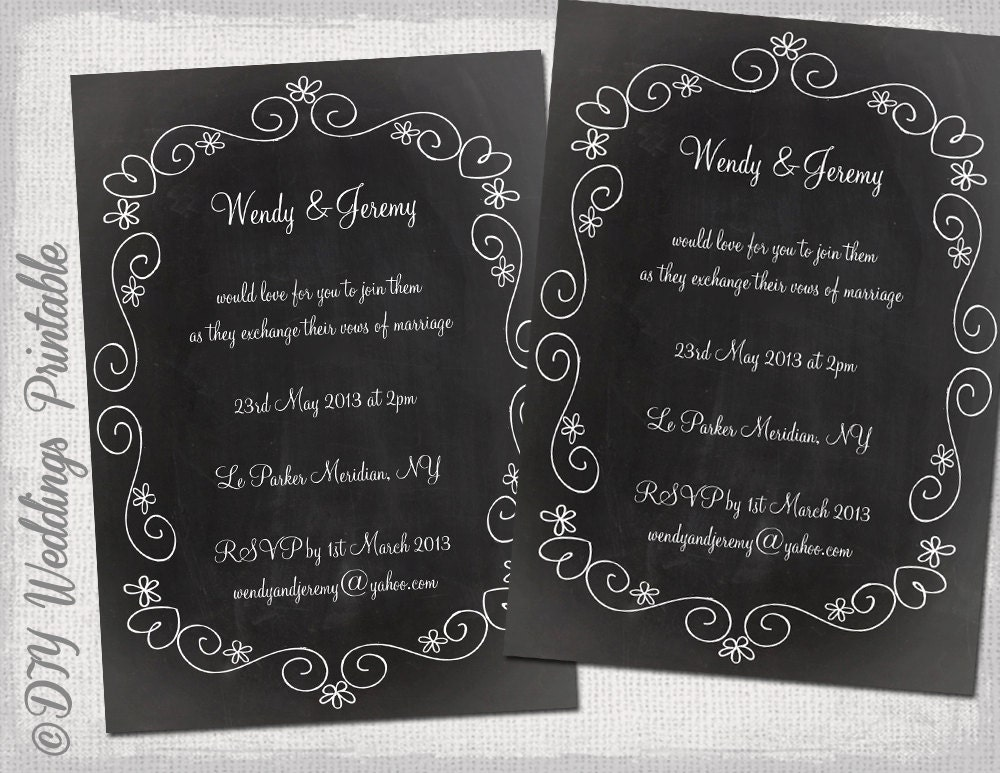 Wedding invitation template Chalkboard DIY wedding