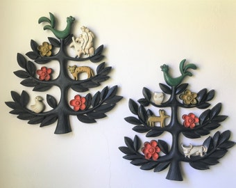 Vintage 1960's cute kitchy wall hangers. Made by Dart Industries. (2 pieces)