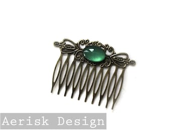Emerald Green Glass opal Vintage style hair comb (Renea, design, 3 color option) Rococo Hair Comb for bridal jewelry,steampunk larp,keepsake