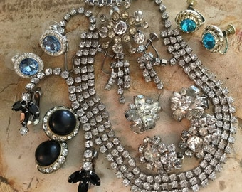 Rhinestone Jewelry Lot~ Earrings, Necklace, Brooches