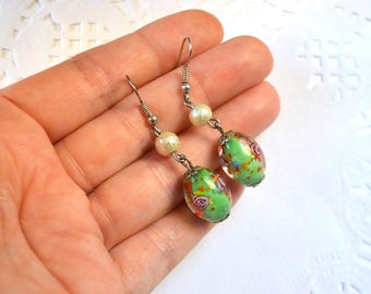 long dangle earrings glass earrings unique gift girl earrings murano earrings birthday gift exclusive jewelry summer earrings green earrings