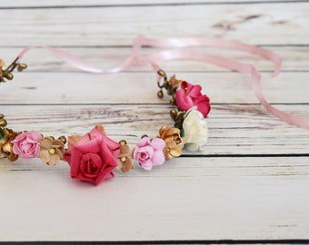 Handcrafted Woodland Pink Gold Tea Stain and Ivory Flower Crown - Adult Flower Crown - Spring Wedding Hair Wreath - Renaissance Flower Crown