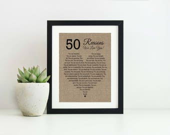 50 Reasons Why I Love you- Mothers Day gift from Daughter- 50th Birthday Gift- 50 Reasons We Love You Anniversary Gift for Husband Wife