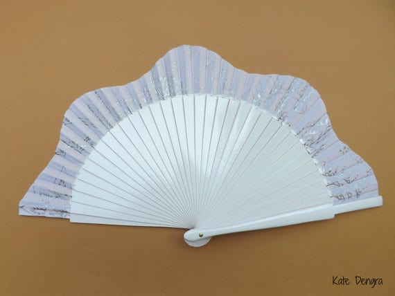 White and Silver Ornate Henna Tattoo Style Wedding Scallop SIZE OPTIONS Flamenco Folding Hand Fan by Kate Dengra Spain