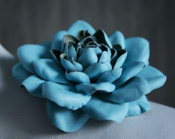 Soft Blue Leather Flower Brooch/Hair Clip