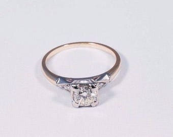 14K Yellow Gold Antique Diamond Engagement Ring, circa 1940s, size 6.5