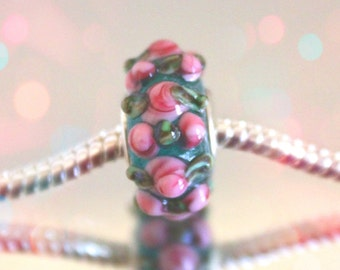 European Green Glass Bead with Blowen Pink Rose Accents
