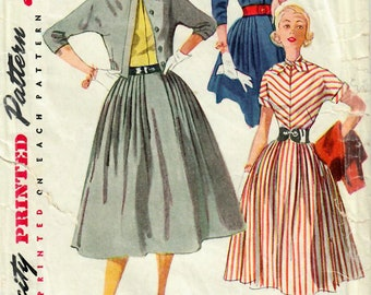 1950s Simplicity 4207 Vintage Sewing Pattern Junior Misses One Piece Dress, Full Skirt Dress, Cropped Cardigan Jacket Size 13 Bust 31