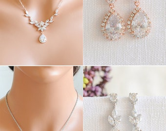 Rose Gold Bridal Jewelry SET, Backdrop Bridal Necklace, Crystal Flower Leaf Necklace, Bridal Earrings, Dangle Earrings, Necklace SET, IRIS