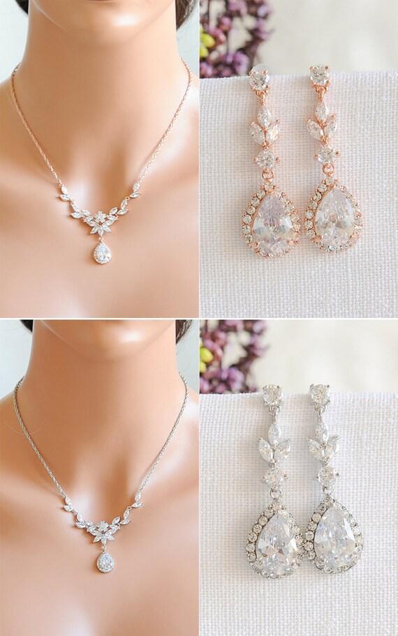 Rose Gold Bridal Jewelry SET Backdrop Bridal Necklace