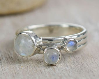 Moonstone Stackable Ring | Moonstone Silver Ring | Silver Stackable Rings | Rainbow Moonstone and Labradorite Rings | Alison Moore Designs