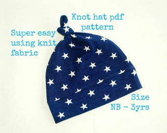 Knot hat pattern (S130), Baby hat sewing pattern, Sewing pdf pattern, Baby girl hat pattern, Baby boy hat pattern