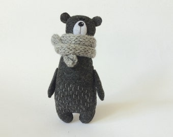 Felt Bear In A Knitted Scarf, Stuffed Bear, Gift For Her, Felt Animals, Teddy Bear Toy, Miniature Bear Woodland Plushie,