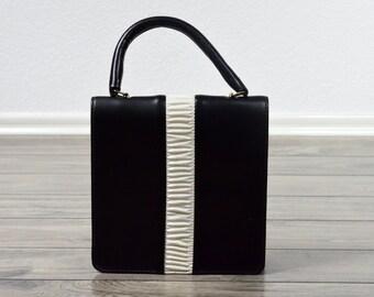 80's Vintage Handbag/ Black and White Purse