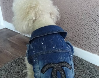 Handpainted Pet Denim Jackets - Dog Accessories - Chewnel Inspired - Dog Clothes - Dog Tutu - Dog Dress