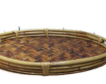 Oval Bamboo Rattan Wood Serving Tray