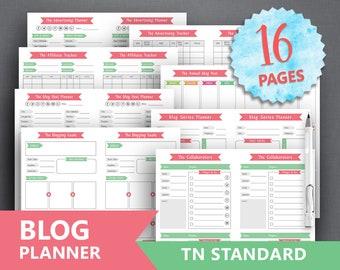 "TN Standard Blog Planner Printable: ""BLOGGING PLANNER"" Blog Printable Blog Organizer Weekly Blog Planner Blog Post Social Media Planner"