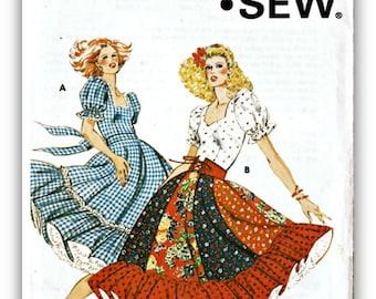 Vintage Kwik Sew 913 sewing Pattern Women's Square Dance Western Dress Pattern