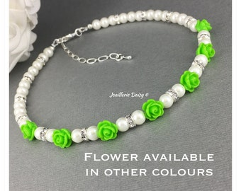 Flower Girl Gift Wedding Jewelry Flower Girl Necklace Lime Green Flower Gift for Little Girl Spring Wedding