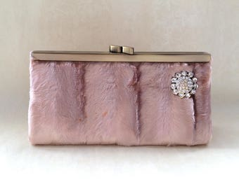 90s Vintage Deadstock Champagne Pink Furry Clutch Bling Rhinestone Pin