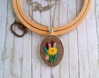 Floral jewelry gift|for|her Womens necklace for mom gift Embroidered necklace Flower jewelry for sister Birthday gift Embroidery jewelry