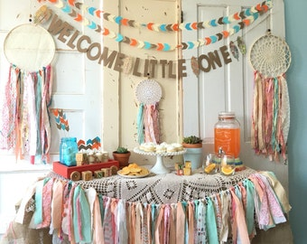 Welcome Little One Banner for Baby Shower.  Boho Modern Baby Shower Sign.  CUSTOM colors and Words Also Available.