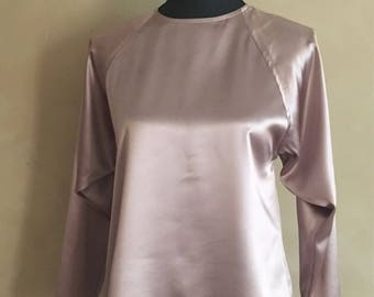 Vintage 70's Gold Satin Blouse Dolman Sleeves