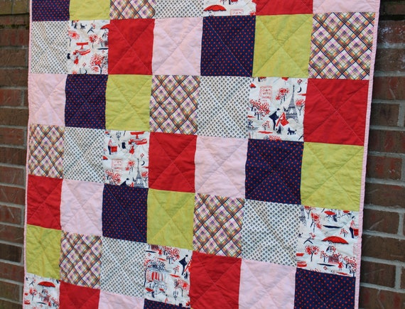 Contemporary Patchwork Throw Quilt for Girl
