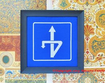U Turn Road Sign Cross Stitch Pattern PDF