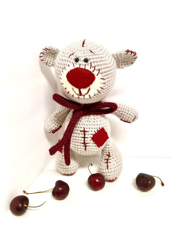 Crochet Cherry Teddy bear old fashioned Teddy kids gifts ideas baby shower home decor interior design boys girls Amigurumi Teddy bear cute