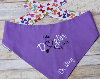 Personalized Dog Bandana |•| The Dogtor Is In |•| Therapy Dog Reversible Bandana |•| Best Monogrammed Puppy Dog Gift by Three Spoiled Dogs