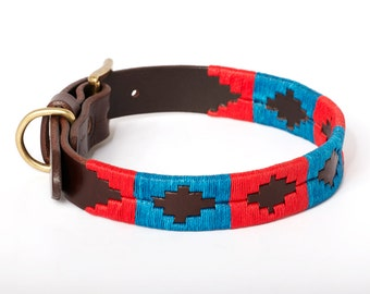 Dog argentinian leather collar - BLUE RED - Embroidered manually - Natural tanning - Kamyno