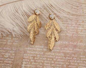 Bridal Leaf Earrings, Bridal Earrings, Vintage Earrings, Bohemian Earrings, Vintage Bridesmaid Earrings, Rustic Earring, Pendientes de novia