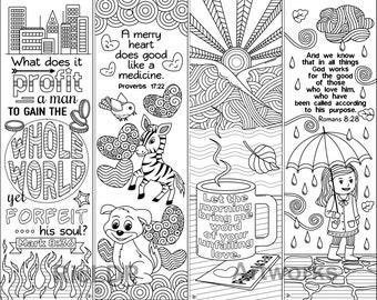 8 Printable Bible Coloring Bookmarks; Bible Verse Bookmarks; Instant Download Digital Art / Doodles