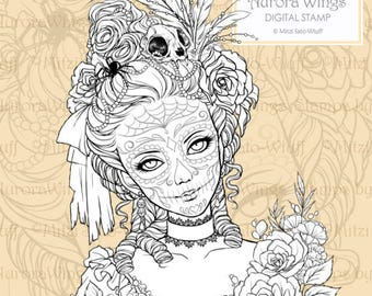 PNG Digital Stamp - Day of the Dead Marie - Catrina Marie Antoinette - Fantasy Line Art for Cards & Crafts by Mitzi Sato-Wiuff