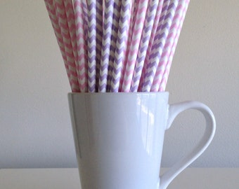 Pink and Purple Chevron Paper Straws Light Pink Lavender Lilac Party Supplies Party Decor Cake Pop Sticks  Party Baby Shower Graduation